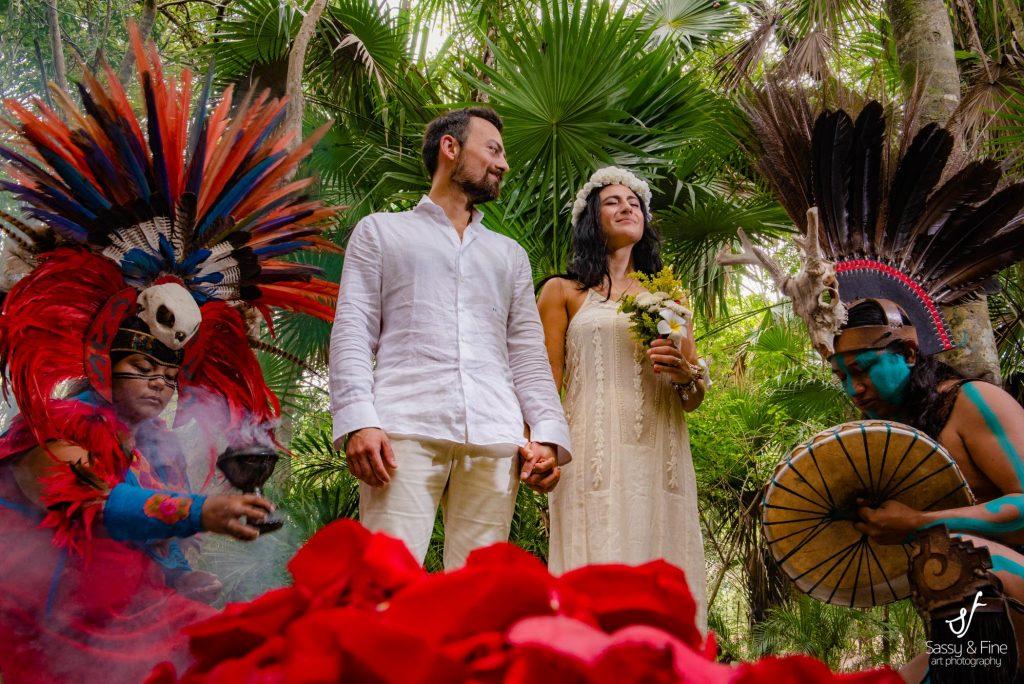 Beautiful wedding portrait Cenote mayan ceremony photo shooting