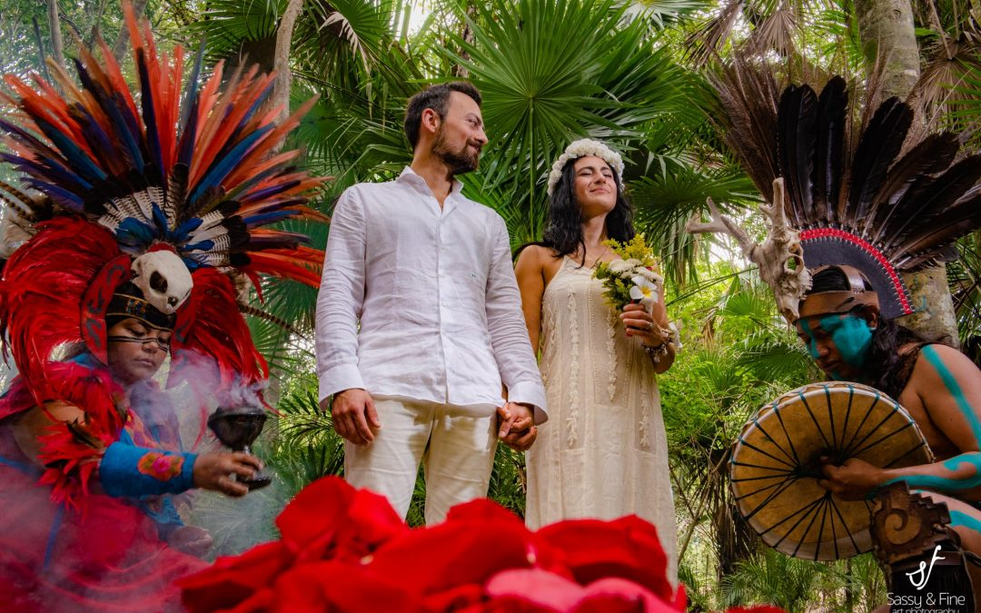 Mayan ceremony at private cenote Riviera Maya
