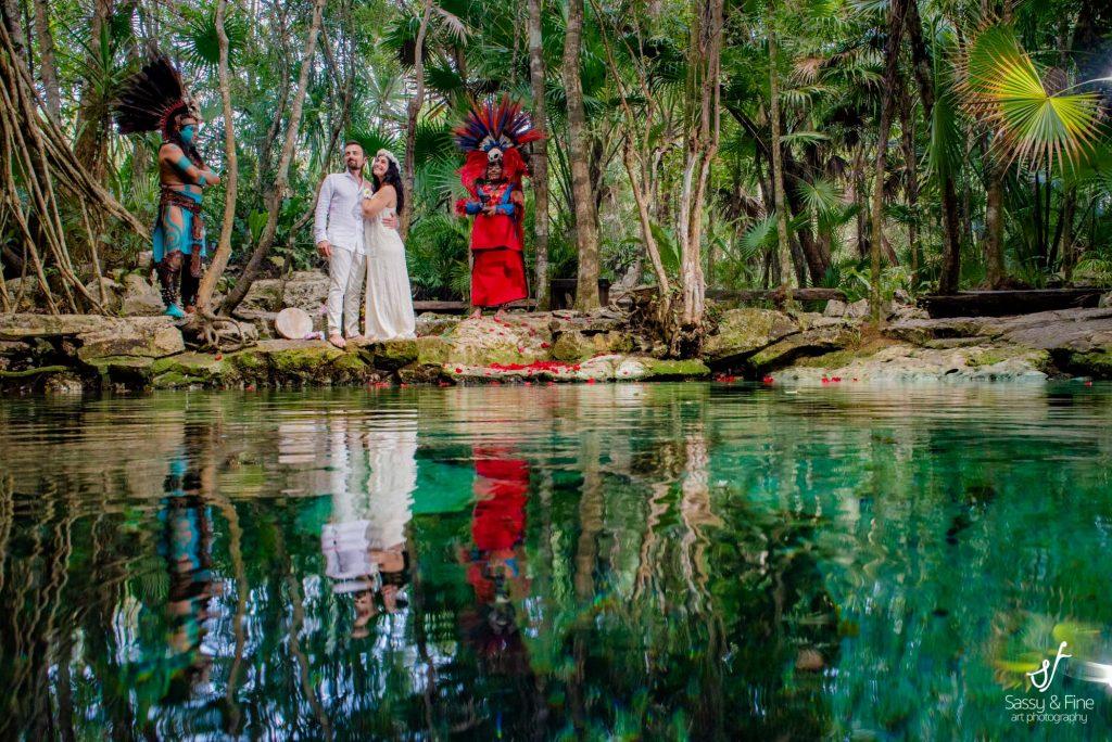 Cenote mayan ceremony photo shooting